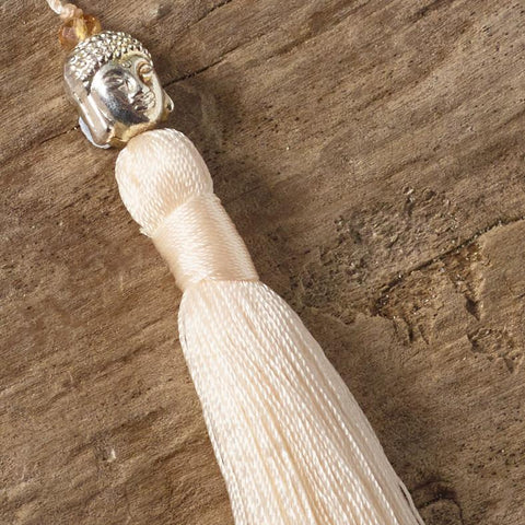 Buddha Tassel Necklace (Cream)
