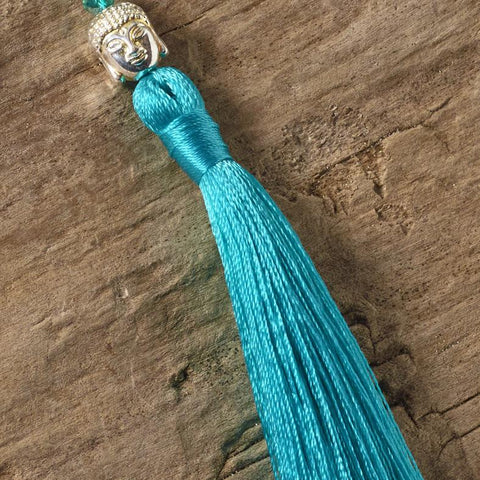 turquoise green buddha tassel necklace