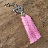 tree of life bag tassel / silver key ring