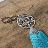 Tree of life turquoise green bag tassel / silver key ring