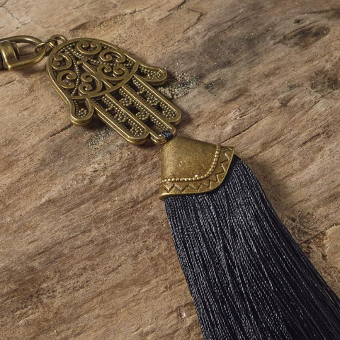 Hamsa & black bag tassel / key ring