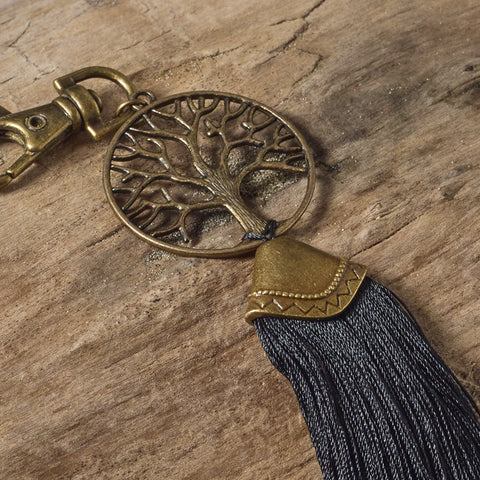 Tree of Life Bag Tassel / Key Ring (Black & Brass