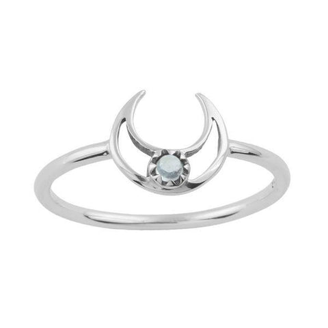 Lunar Eclipse Ring - Rainbow Moonstone