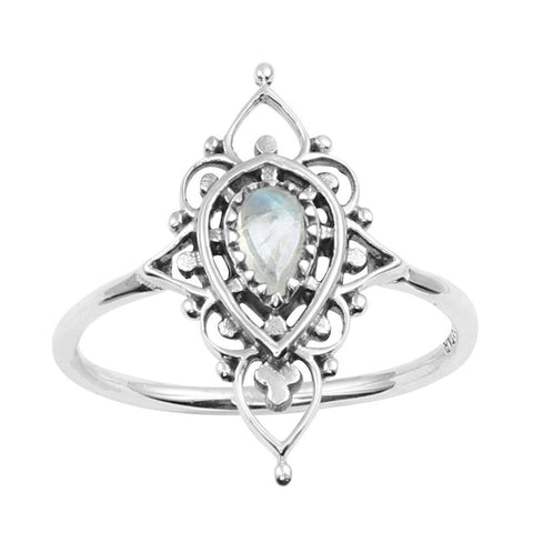 Majestic Ring - Rainbow Moonstone