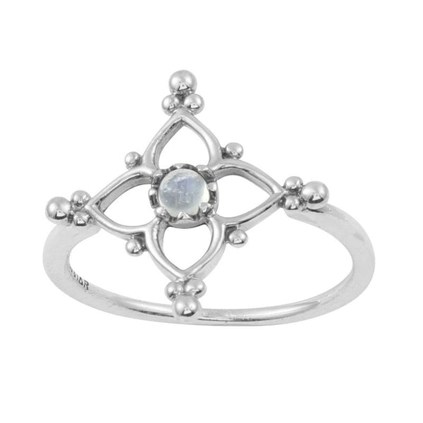 Moroccan Star Ring - Rainbow Moonstone