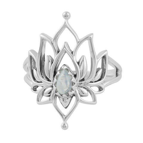 Lotus Romance Ring - Rainbow Moonstone
