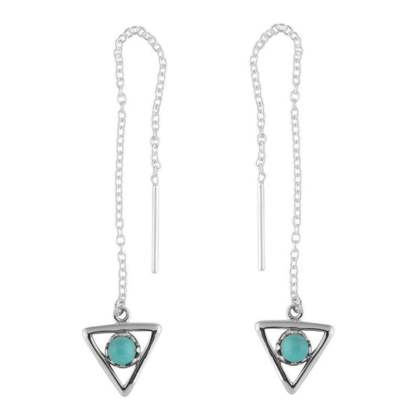All Seeing Eye Triangle Threader Earrings - Turquoise