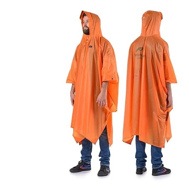 Survival Gears Depot Hiking Jackets 20D Orange Multifunction Poncho Raincoat