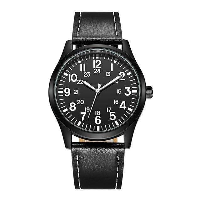 Survival Gears Depot Quartz Watches Black Leather Outdoor Nylon Strap Sport Watch