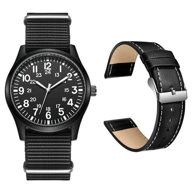 Survival Gears Depot Quartz Watches Black Nylon and PU Strap Outdoor Nylon Strap Sport Watch