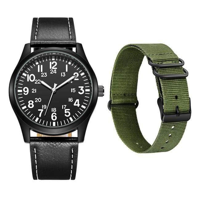 Survival Gears Depot Quartz Watches Green Nylon and PU Strap Outdoor Nylon Strap Sport Watch
