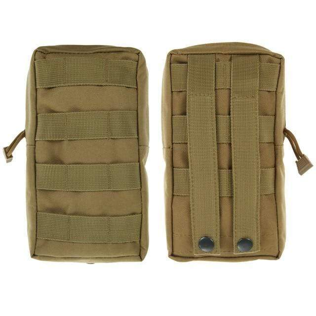 Survival Gears Depot Survival Backpack Khaki 1 Pack Molle Pouches - Tactical Compact Water-Resistant 600D EDC Pouch