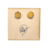 Mustard Wood Hexagon Studs