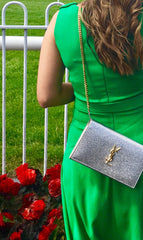 Silver YSL clutch bag to hire at iBagzy bag rental