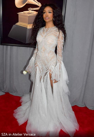 SZA in Versace Grammys 2018 - iBagzy bag rental blog post