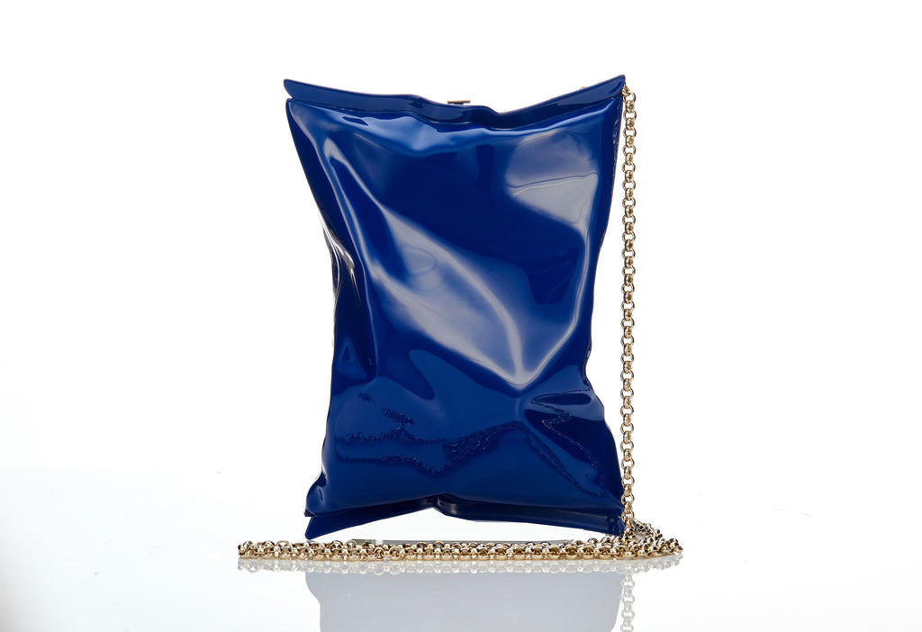 Anya Hindmarch blue crisp packet clutch bag at iBagzy designer bag rental Northern Ireland