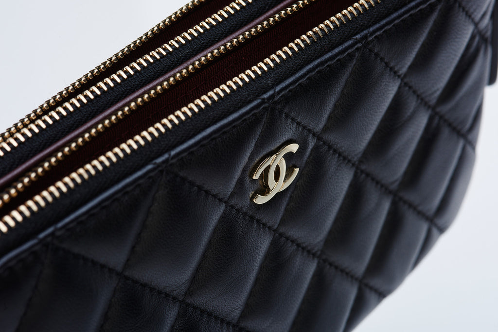 Chanel Lambskin Quilted Clutch Black Gold Chain Ibagzy Bag Rental Northern Ireland