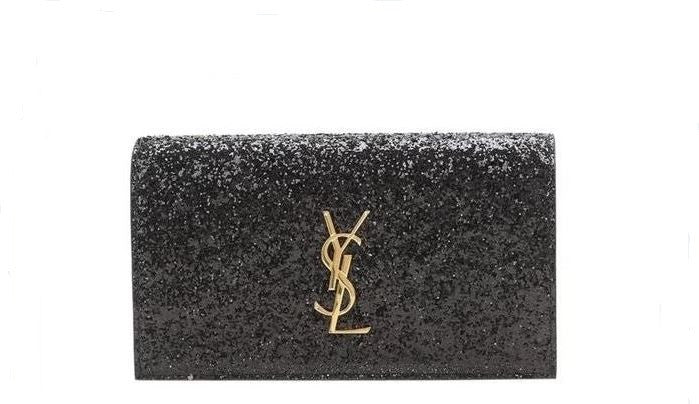 Black glitter Saint Laurent Kate clutch with gold logo to rent at iBagzy