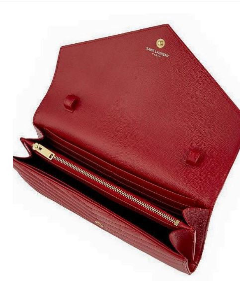 Red leather Saint Laurent shoulder bag to rent at iBagzy