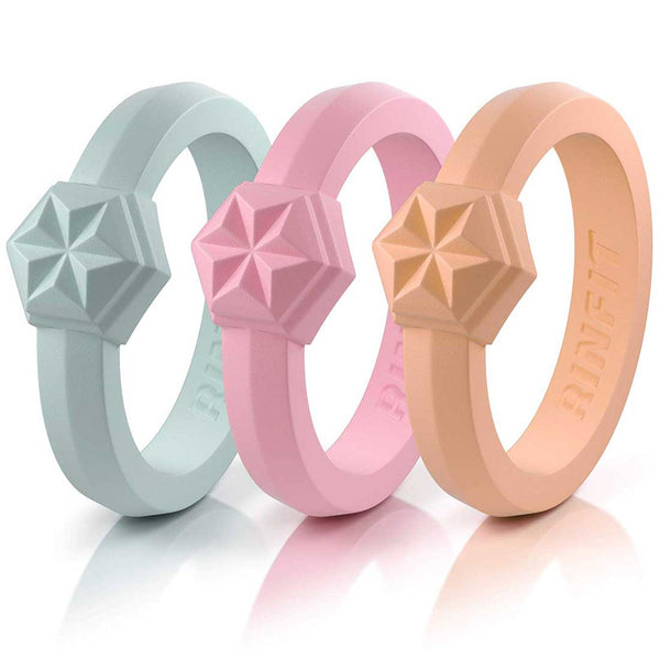 "Couture ""Silicone diamond"" Collection by Rinfit™ - Silicone Wedding Rings For Women- Designed, High-Quality Silicone, Soft Rubber Wedding Bands - 3 Rings Set"
