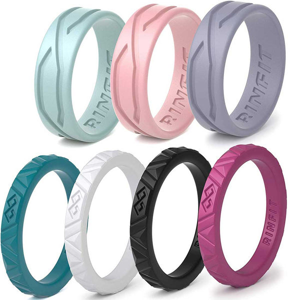 Mix Infinity & 4Love Collections by Rinfit™ - Silicone Wedding Rings For Women - Designed, High-Quality Silicone, Soft Rubber Wedding Bands - 7 Rings Set