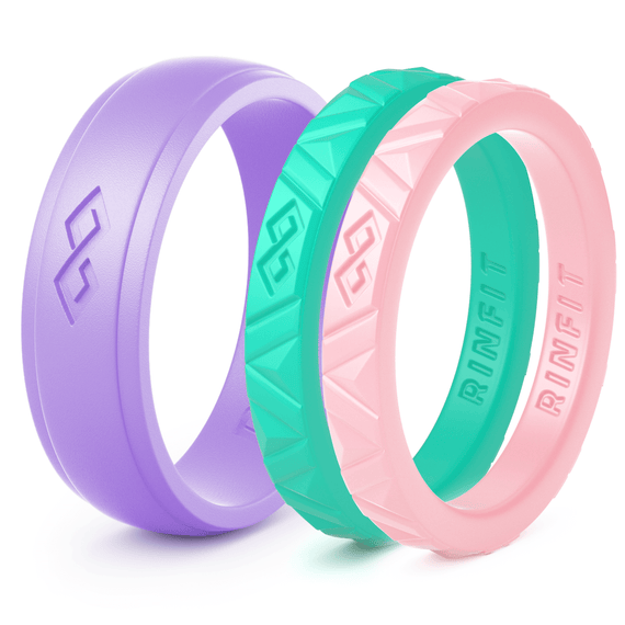 Silicone Wedding Rings for Women- 3 Rings Set - Mix Collection