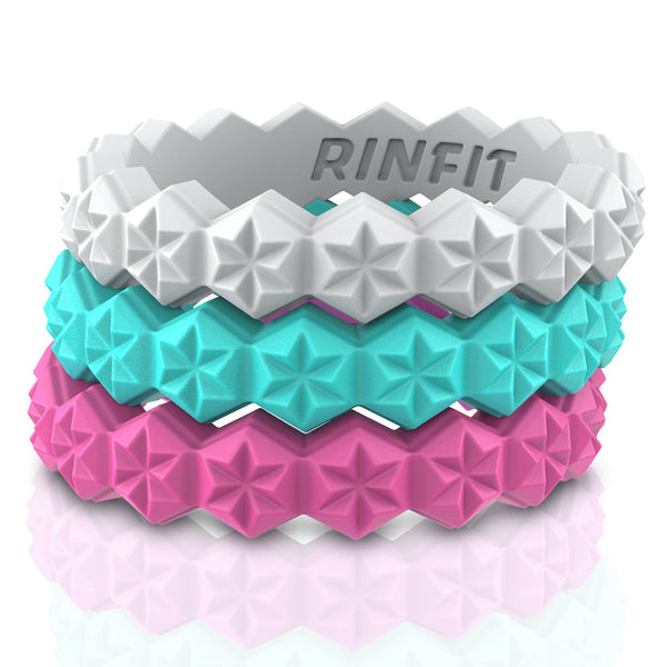 Stars Collection by Rinfit™  Silicone Rings for women - 3 Rings Pack - High-quality Silicone, Soft Rubber Wedding Ring - Women's Wedding Bands - Designed Rubber Bands.