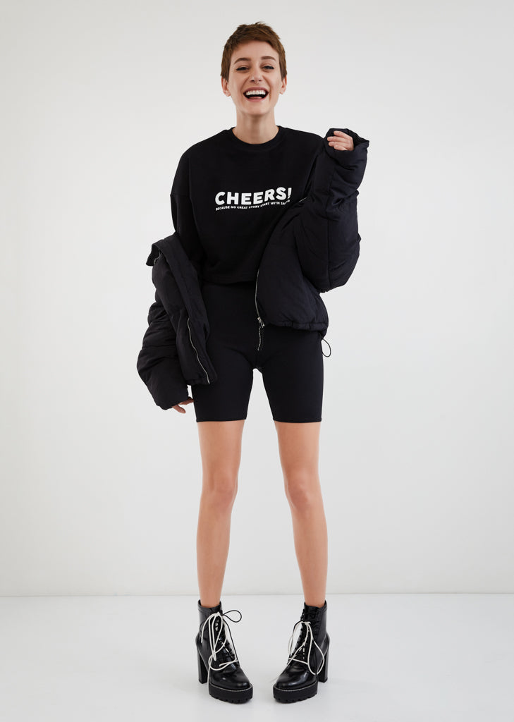 Cheers Because No Great Story Start With Salad / Cropped Sweatshirt