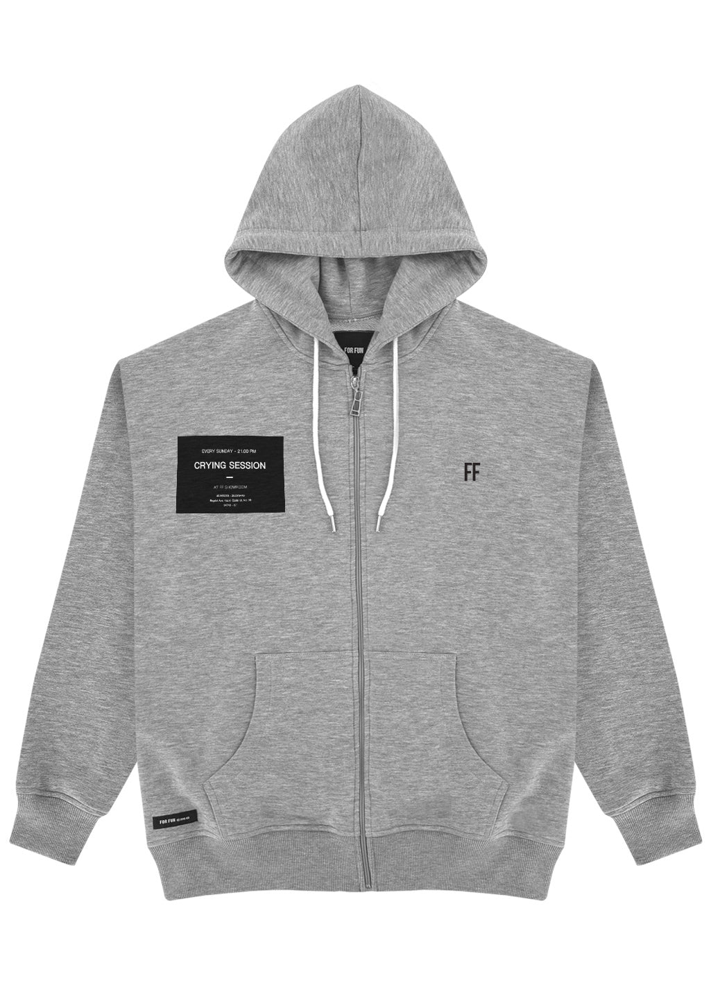 Crying Session / Unisex Zip Up Hoodie (GREY)
