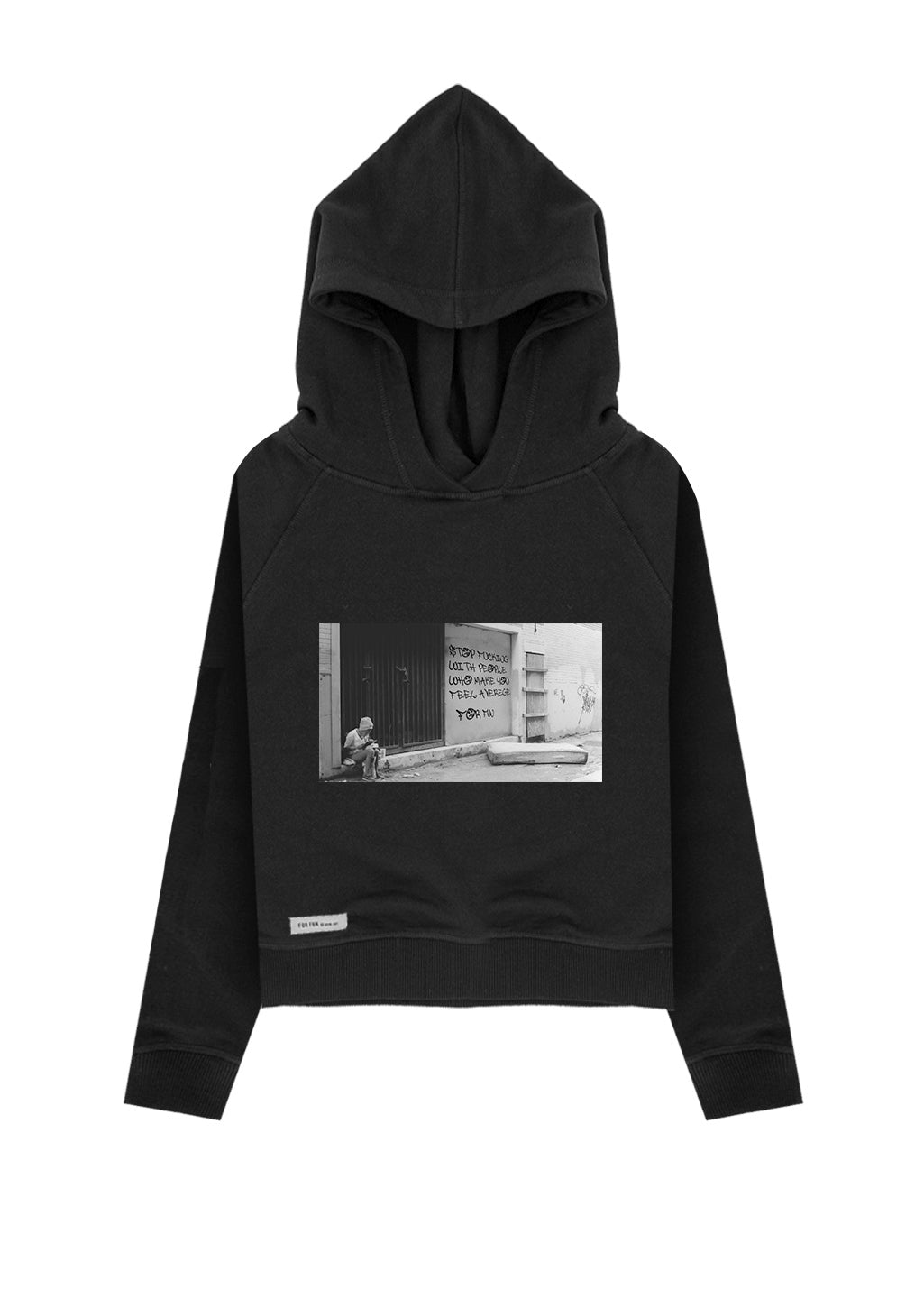 Stop Fucking with People Who Make You Feel Average / Crop Hoodie