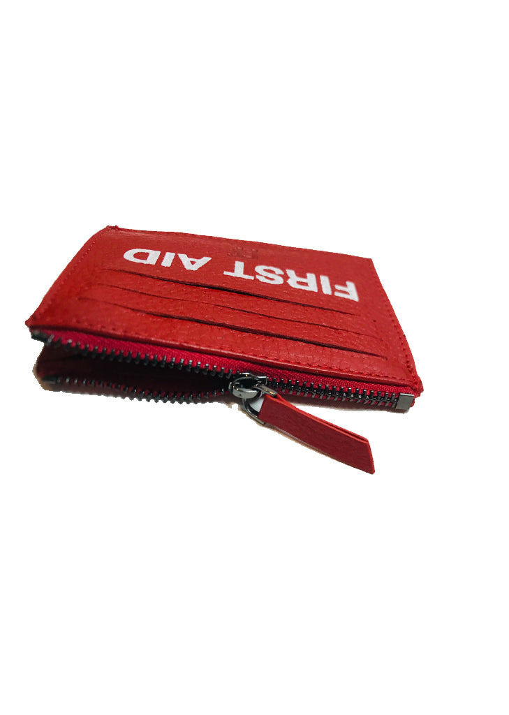 First Aid / Leather Card Holder (red)