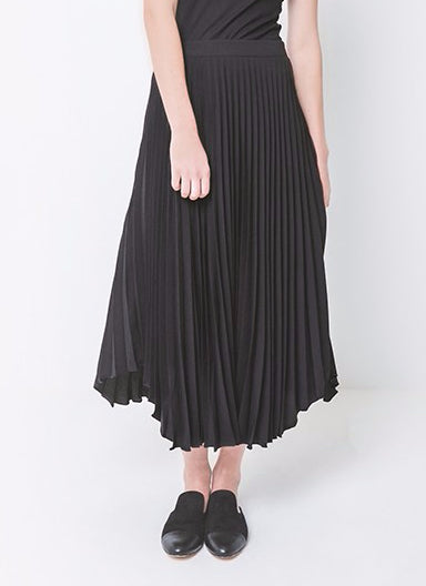 Womans, polyester, black midi knee length skirt