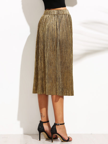 Gold Pleated Midi,Bottoms - KassKo