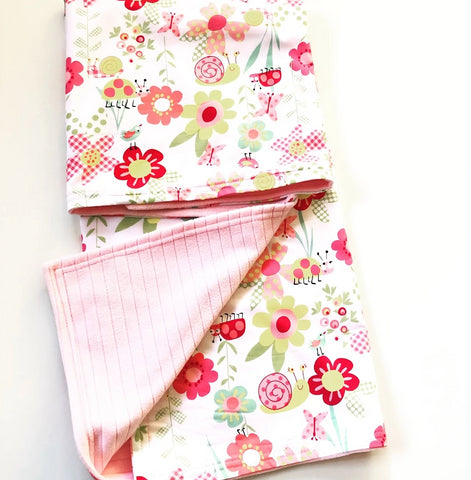 Baby Blanket 90cm x 90cm With Personalised Name - Floral