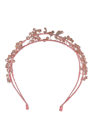 Pink crystal bead fascinator on double headband