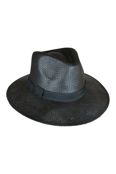 Black Fedora Hat With Black Trim,Hats - KassKo