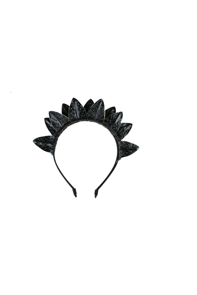 Black textured faux leather leaves and flower double headband fascinator