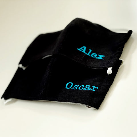 Black Fabric Fashion Face Mask With Personalised Option (More colours available)