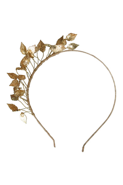 Gold dancing leaves headband fascinator