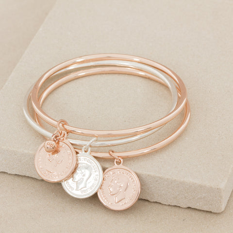 rose gold silver coin charm set of three bracelets bangles