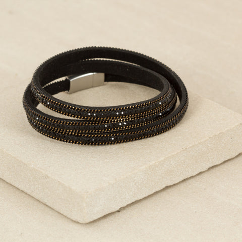 Triple Wrap Faux Leather and Diamante Cuff - Black,Jewellery - KassKo