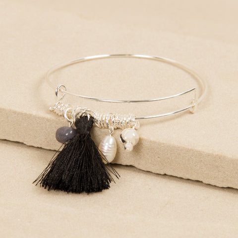 Silver Bead and Black Tassel Adjustable Bracelet,Jewellery - KassKo