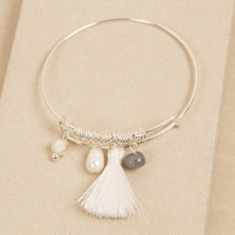 Silver Bead and White Tassel Adjustable Bracelet