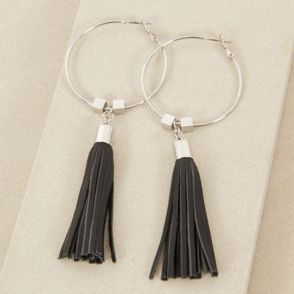 Leather Tassel Earrings,Jewellery - KassKo