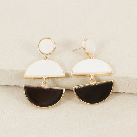 Black Pearl Half Moon Gold Earrings,Jewellery - KassKo