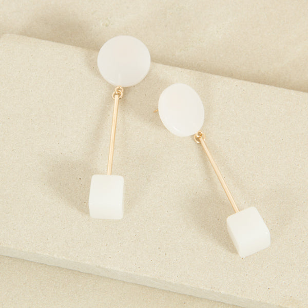White and Gold Square Circle Stud Earrings,Jewellery - KassKo