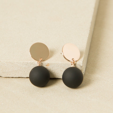 Black Bauble and Rose Gold Disc Earrings