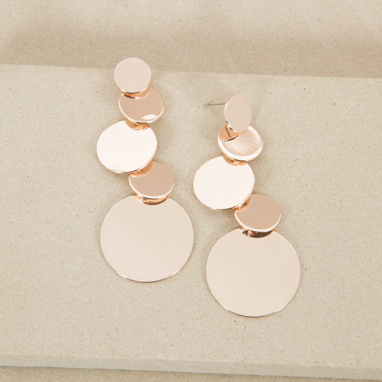 Rose gold 5 circle drop down stud earrings,Jewellery - KassKo