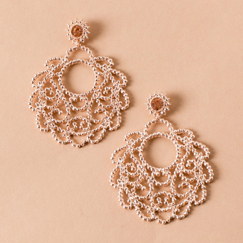 Textured metal rose gold filigree earrings