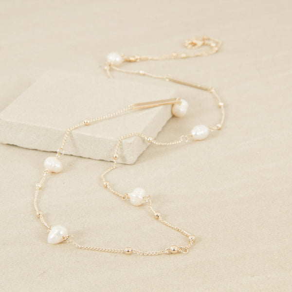 Women's freshwater pearl and bar long necklace